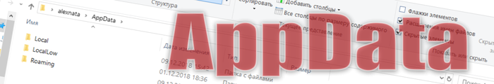 Папка AppData в Windows 10